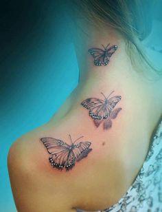 3D butterfly tattoo 38 - 65 3D butterfly tattoos  <3 <3