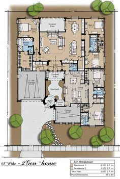 2Gen ranch house Plan.  Would need to move garage so as to provide more light to apartment.