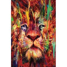East Urban Home Lion Red Graphic Art on Wrapped Canvas Size: