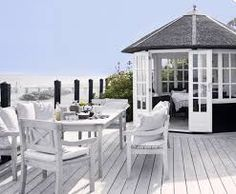 Cool And Inviting Summer Terrace Decor Ideas - DigsDigs Outdoor Rooms, Outdoor Living, Outdoor Furniture Sets, Deck Furniture, Porches, Gazebo On Deck, Enclosed Gazebo, Building A Deck, Beach Cottages