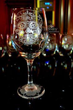 Dia de los muertos etched wine glass/day by Hi5babyHandmadeGoods