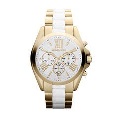 Michael Kors Watch. Gold and White Horloge @ www.strego.nl MK5743