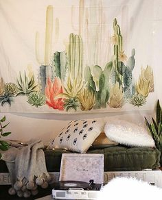 Tapestries Desert Sunshine Cactus Tapestry Wall Hanging For Living Room Bedroom Dorm Decor & Garden Decor, Dorm Room Diy, Wall Hanging Living Room, Dorm Diy, Tapestry, Desert Decor, College Dorm Room Decor, Home Decor, Apartment Decor