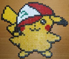 Pikachu with Ash's caps - Perler or Hama by ~Chrisbeeblack on deviantART