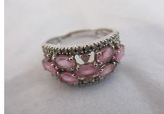 Vintage 1980's 9ct White Gold, Pink Topaz and Diamond Ring.