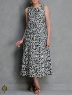 Indigo-Beige Kalamkari Printed Cotton Dress with Pockets - moda Simple Dresses, Cute Dresses, Casual Dresses, Fashion Dresses, Summer Dresses, Kurta Designs, Blouse Designs, Cotton Dresses Online, Kalamkari Dresses