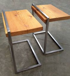 simple and beautiful    Custom Reclaimed Wood and Steel Side Tables for Leslie. $305.00, via Etsy.