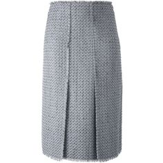 Proenza Schouler Frayed Bouclé Skirt ($1,180) ❤ liked on Polyvore featuring skirts, grey, front slit skirt, straight skirt, proenza schouler skirt, proenza schouler and grey skirt