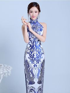 Blue Floral Halter Qipao / Cheongsam Prom Dress with Split