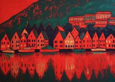 A wonderful painting of Bergen, the second-largest Norwegian city surrounded by mountains and fjords, including Sognefjord, the country's longest and deepest. Landscape Paintings, Watercolor Paintings, Inspiration Artistique, Cityscape Art, Colorful Artwork, Acrylic Wall Art, Impressionism Art, Contemporary Wall Art, Lovers Art