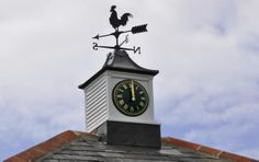Manufacturer: As Time Goes By Ltd in Botley, Southampton, England clock tower, black Roman convex) Outdoor Clock, Black Rooster, Weather Vanes, As Time Goes By, Time Clock, England Uk, Stables, Towers, Clocks