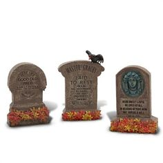 Bury your troubles under our Haunted Mansion Tombstone Set. This set of three miniature headstones featuring amusing epitaphs will make a fun table topper for your Halloween party before they move on to haunt year 'round.