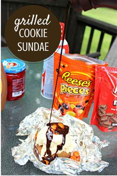 Are you looking for an out of this world dessert to grill with your family? This GRILLED COOKIE recipe topped with all your favorite sundae toppings, is the best ever! The warm cookie, hot off the grill, will have everyone asking for more. #SundaeSundays #sponsored