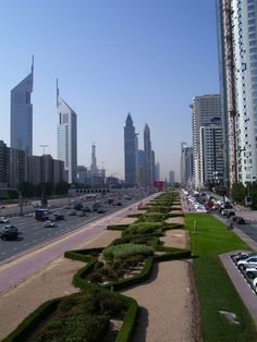 Sheikh Zayed Road, Dubai - Before the metro and with the Burj Khalifa in the distance still under construction!