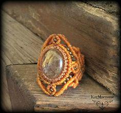 Rutilo cuarzo macrame anillo \handmade\micromacrame