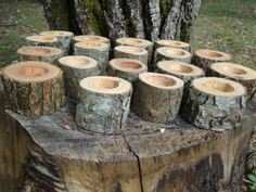 12 Rustic 2 wood candle holders sticks for votive candles weddings cabins decoration decor natural tree branch