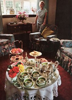 Afternoon tea in 1969. Oh, how I remember tea, sitting rooms and aunties just like this <3