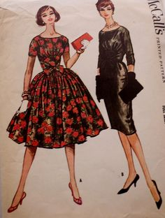 1950s Stunning Full or Slim Skirt Party Dress McCall's 5142 Vintage Sewing Pattern