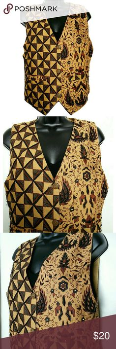 Ethnic Bohemian Beaded Vest Front Pockets Amazing ethnic vest with Boho print. Size medium. Front pockets and button closure. Brown color. Beading strategically on the print. Approximate measurements of the vest are Bust 35 inches and Length 24 inches inches. Very good condition. Tops