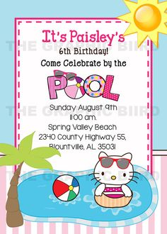 Hello Kitty Printable Pool Party Birthday Invitation Mermaid