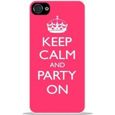 Rikki KnightTM Keep Calm and Party On - White Hard Case Cover for Apple iPhone® 4 & 4s Universal: Verizon - Sprint - AT - Unisex - Ideal Gift for all occassions!