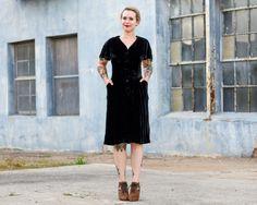 vintage 1940s black dress / black silk velvet dress by MoonRevival