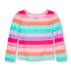 Baby Girls Toddler Long Sleeve Neon Printed Top - Pink - The Children's Place