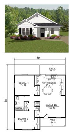 Open concept, two bedroom small house plan. [Other examples at this link] Open concept, two bedroom small house plan. [Other examples at this link] Image. Little House Plans, Small House Floor Plans, Small Modern House Plans, Open Concept House Plans, Open House Plans, Cottage Floor Plans, Two Bedroom Floor Plan, 2 Bedroom House Plans, Two Bedroom Tiny House
