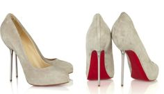 Christian Louboutin grey dove suede stilettos. Ana's shoes from 50 Shade ;)     ....these are gorgeous