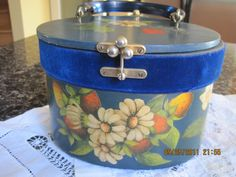 Vintage Strawberry Wooden Box Purse, Blue, Hand-painted. $56.00, via Etsy.