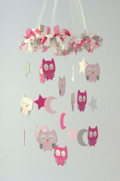 Owl Nursery Mobile in Pink & Gray- Baby Mobile, Crib Mobile, Baby Shower Gift by francine