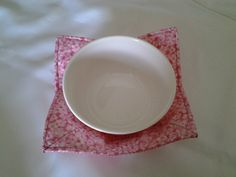 Microwave Bowl Cozy Pink Hot Pad Trivet Textile Linens Kitchen Pot Holder Hot Pad by CaliSistersCreate on Etsy