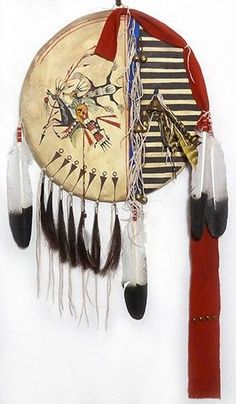 Native American Painted Shield w. Bear Warrior by James Little Wounded, Minneconjou/Lakota