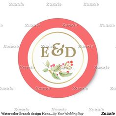 Watercolor Branch design Monogram Wedding Stickers Watercolor Branch design Wedding Stickers with Bride's and Groom's Custom Monograms. Matching Wedding Invitations, Bridal Shower Invitations, Save the Date Cards, Wedding Postage Stamps, Bridesmaid To Be Request Cards, Thank You Cards and other Wedding Stationery and Wedding Gift Products available in the Floral Design Category of our Store.