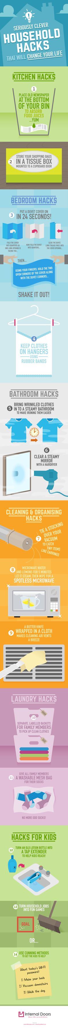 These Clever Household Hacks will Save You Time #infographic