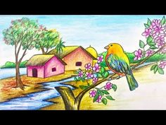 How to draw scenery of spring season for kids step by step with color (easy drawing video) Oil Pastel Drawings Easy, Oil Pastel Paintings, Oil Pastel Art, Easy Drawings, Art Village, Village Drawing, Scenery Drawing For Kids, Art Drawings For Kids, Art Drawings Sketches