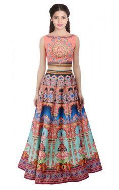 a83b523723 Twill Silk Multi Color Digital Printed Lehenga Choli Pink Printed Art, Bridal  Lehenga Online,