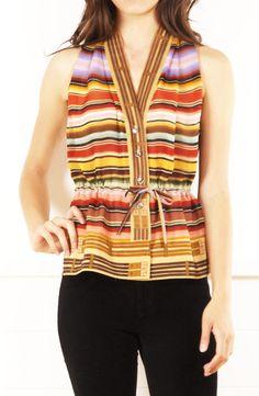 Hermes multicolor chiffon sleeveless blouse