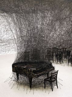 """Thread Art Installation by Japanese Artist Chiharu Shiota in Pitssburgh, PA. Land Art, String Installation, Art Installations, Illusion Kunst, Art Fil, Instalation Art, 3d Fantasy, Art Sculpture, Metal Sculptures"