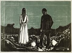 WORK 5 (WORKS ON PAPER COLLECTION) Edvard Munch, Two People - The Lonely Ones, 1899. Woodcut. All images © Whitworth Art Gallery, The University of Manchester.