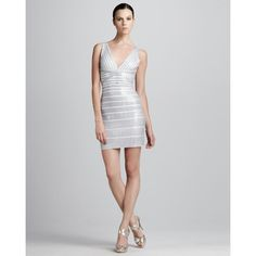 f60716e17608 Herve Leger Sequined V-Neck Bandage Dress Contemporary Dresses