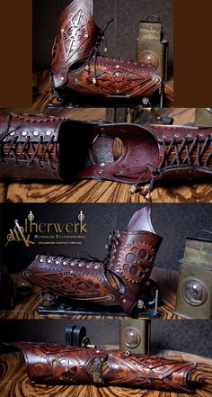 Steampunk Leather Arm Armor by Aetherwerk.deviantart.com on @deviantART