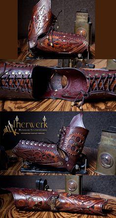 Steampunk Leather Arm Armor by Aetherwerk.deviantart.com on @deviantART