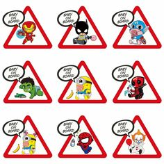 Superhero Stickers: Baby On Board Car Decals Cartoon Stickers, Cool Stickers, Wall Stickers Murals, Cartoon Design, Funny Design, Car Decals, Vinyl Decals, Baby An Bord, Yellow Minion