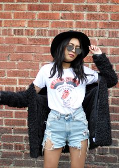Turn your style all the way up. Alyssa May styles the band tee on blog.ae.com.