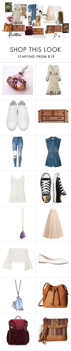 """""""Rising On The Hogwarts Express"""" by twilightphonix on Polyvore featuring WithChic, Yves Saint Laurent, Sea, New York, Diane Von Furstenberg, Converse, Rosetta Getty, ECCO, M Z Wallace and American West"""