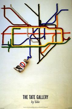 The Tate Gallery By Tube; by David Booth of the agency Fine White Line, 1986. 'The Tate Gallery By Tube' poster was commissioned for Art on the Underground, a poster-commissioning initiative launched in 1986. | Forgotten London Underground posters - Telegraph