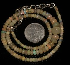 """50 Ctw 1Necklace 3to7mm 16"""" Beads Natural Genuine Ethiopian Welo Fire Opal 95192"""