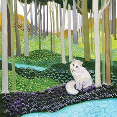 by Melissa Launay, Fine Art Greeting Card, Gouache on Paper, White fox sitting in the woods Greeting Cards Uk, Karla Gerard, National Art, Naive Art, Pet Birds, Art Images, Art Lessons, Folk Art, Fantasy Art
