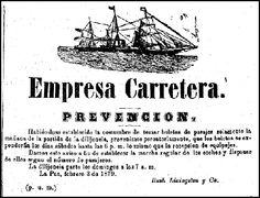 """Anuncio en el diario """"El Comercio"""" de La Paz, Bolivia del año 1879. Fotocopia del archivo del diario """"El Comercio"""""""